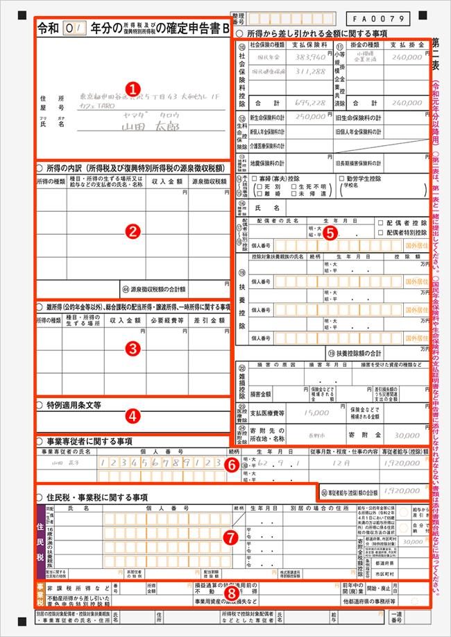 確定申告書Bの書き方・記入例【第二表】