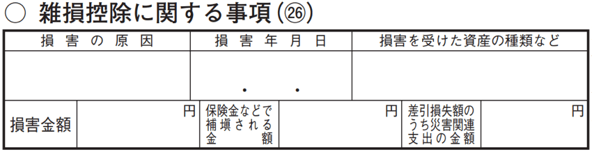 令和2年分以降用 確定申告書B 第二表「雑損控除に関する事項」
