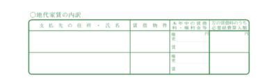 令和元年分以降用 青色申告決算書 地代家賃の内訳 記入欄