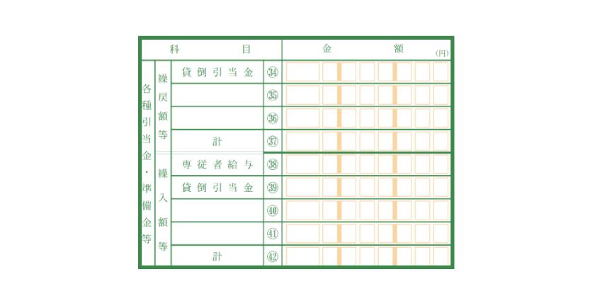 令和元年分以降用 青色申告決算書 貸倒引当金記入欄
