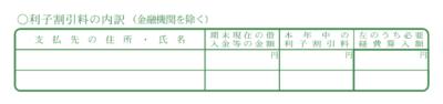 令和元年分以降用 青色申告決算書「利子割引料の内訳」記入欄