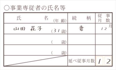 令和元年分以降用 収支内訳書 事業専従者の氏名等