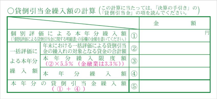 令和元年分以降用 青色申告決算書「貸倒引当金繰入額の計算」