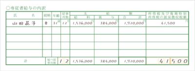 令和元年分以降用 青色申告決算書「専従者給与の内訳」記入例