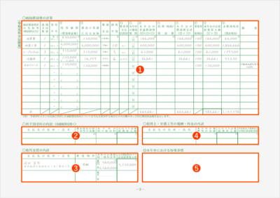 令和元年分以降用 青色申告決算書3ページ 記入例(全体)