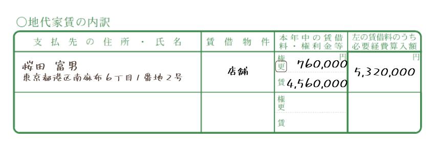 令和元年分以降用 青色申告決算書「地代家賃の内訳」記入例
