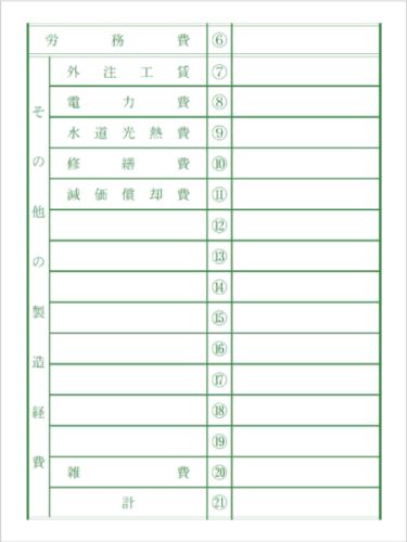 令和元年分以降用 青色申告決算書「製造経費」記入例