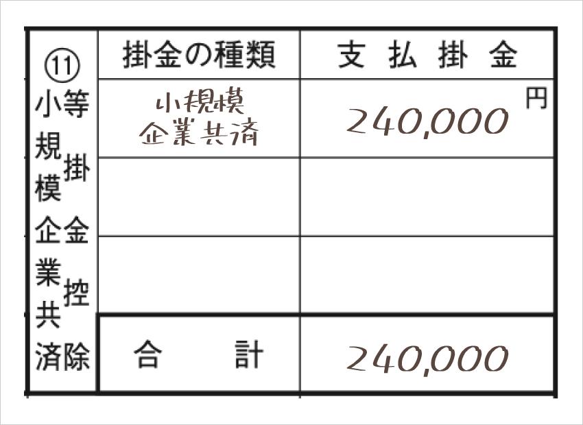 令和元年分以降用 確定申告書B 第二表「小規模企業共済等掛金控除」記入例