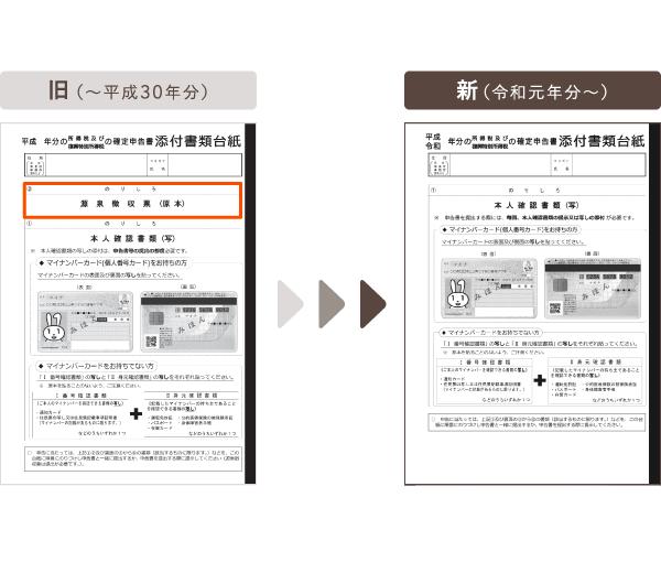 令和元年分以降用 添付書類台紙の比較