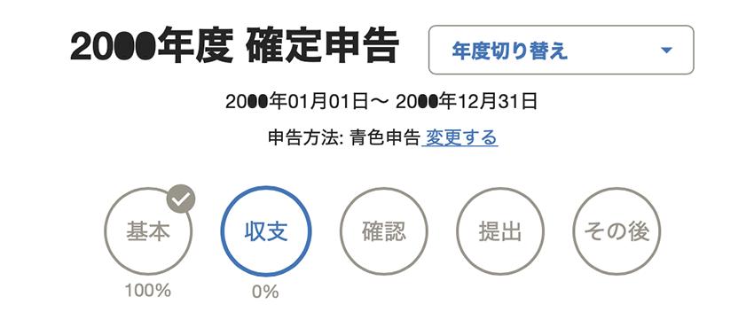 freee 確定申告進捗画面