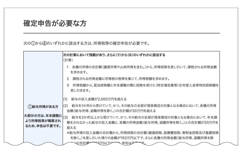 確定申告が必要な方(国税庁HPより)