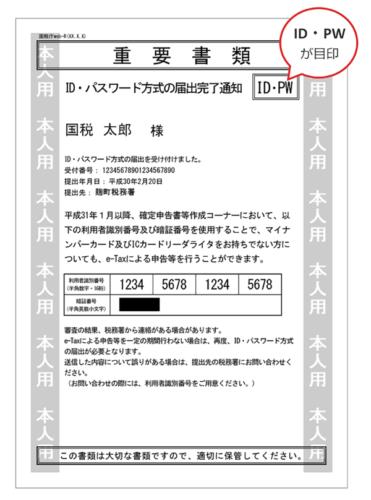 ID・パスワード方式の届出完了通知