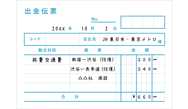 出金伝票の記入例 - 複数路線を利用した際の電車賃