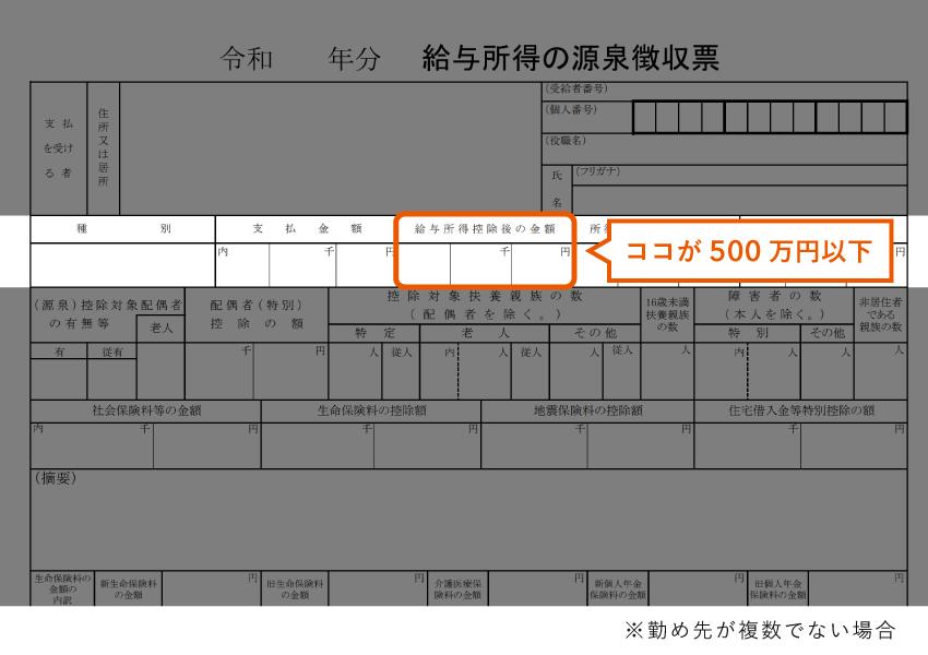 給与所得が500万円以下(源泉徴収票)