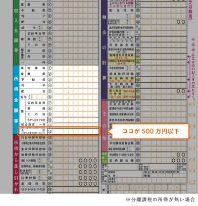 合計所得金額が500万円以下(確定申告書B)