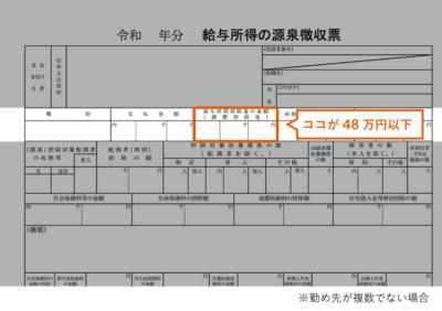 給与所得が48万円以下(源泉徴収票)