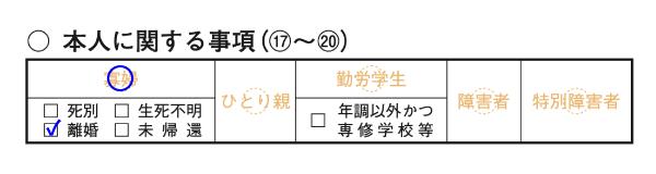 寡婦控除の記入欄(確定申告書第二表)