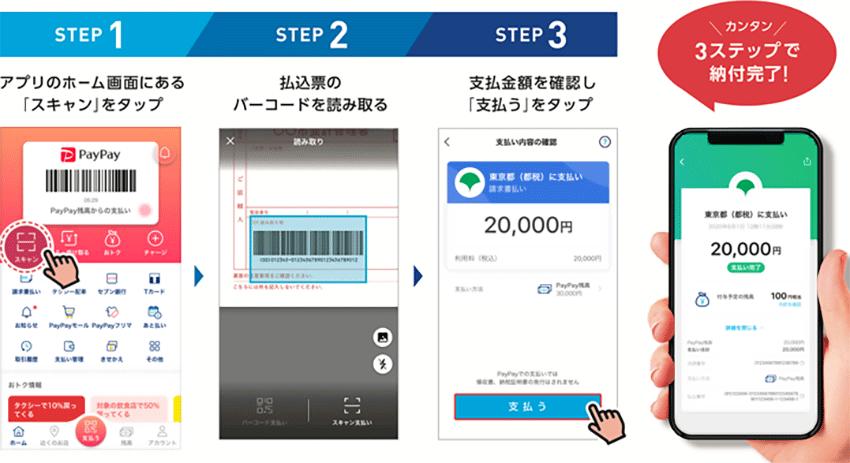 スマホ決済アプリによる税金納付手順 - PayPayの場合