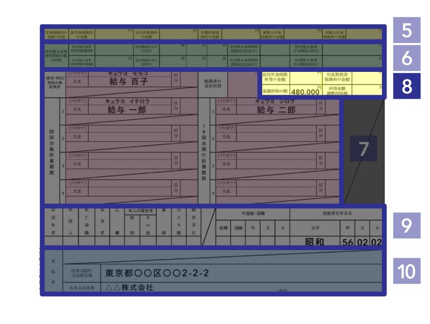 ⑧ 社会保険料控除・地震保険料控除の詳細 - 源泉徴収票(下段)