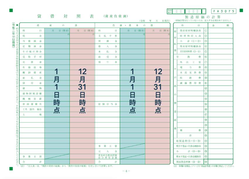 青色申告決算書の貸借対照表には期首・期末時点の状況を記入