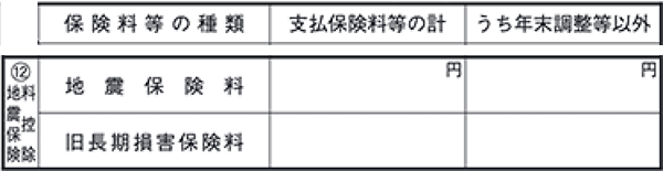 地震保険料控除 - 確定申告書Aの記入例(第二表)