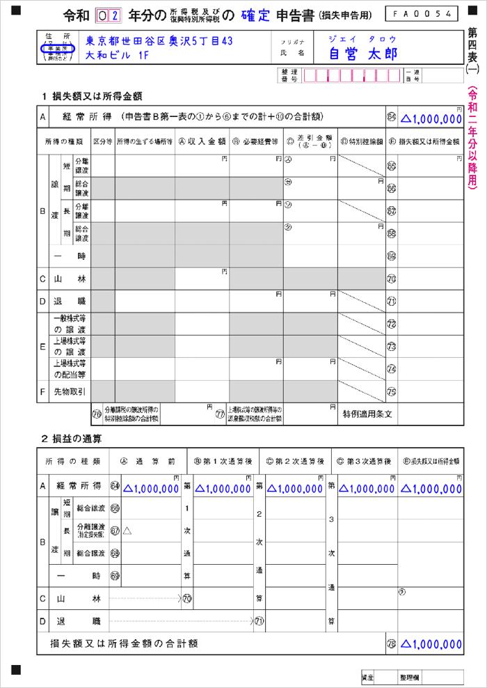 【新型コロナ】第四表1Pの記入例(白色申告の繰越控除)