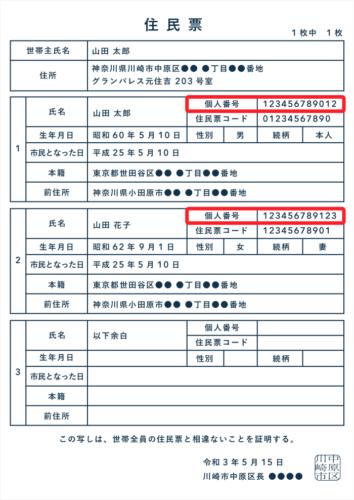 マイナンバーが記載された住民票の写し(世帯票)