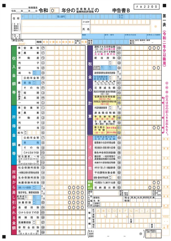 確定申告書B第一表(令和2年分以降用の変更点)