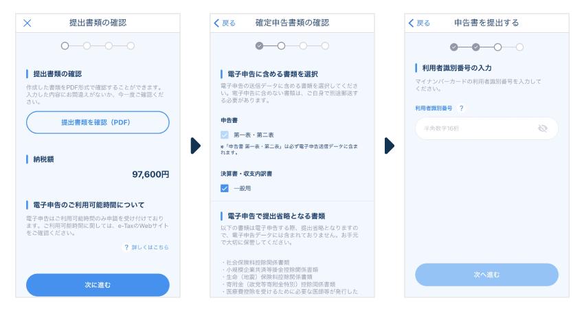 電子申告の流れ - マネーフォワードのスマホアプリ