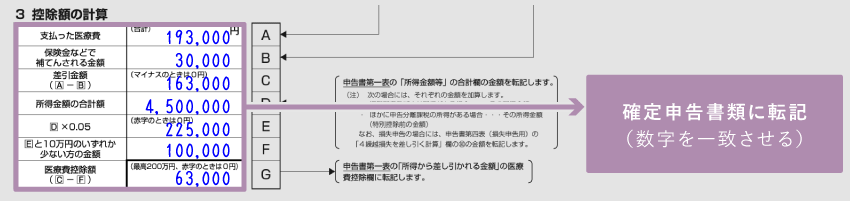 医療費控除の明細書 - 3 控除額の計算(記入例)
