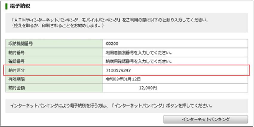 e-Taxの納付区分番号通知(登録方式の電子納税)