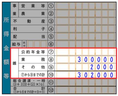 雑所得における所得 - 申告書B(第一表)