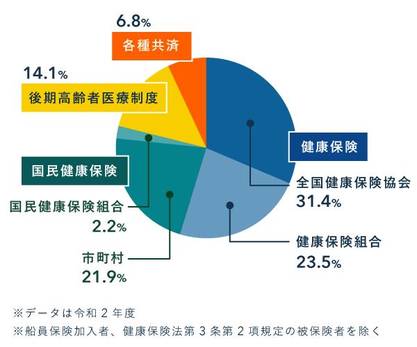 各保険の加入人数の円グラフ